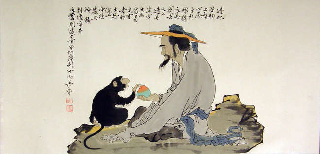 Chinese scroll painting depicting a man with a monkey