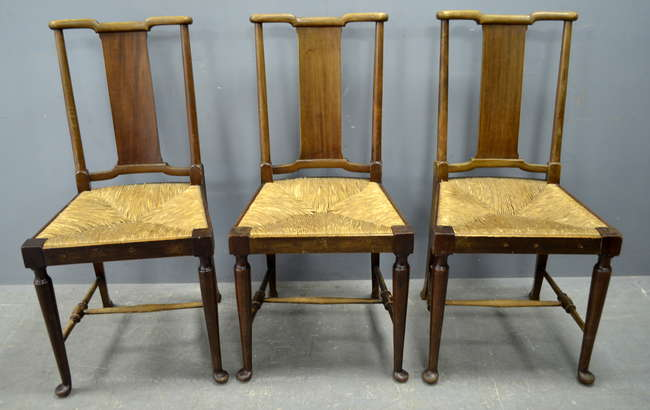 Richard Norman Shaw For Morris U0026 Co Set Of Eight Dining Chairs In Walnut  With Rush