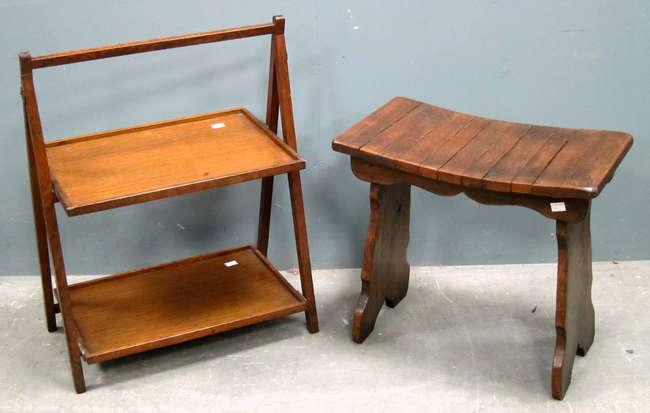 U0027Webber Furnitureu0027 Oak Stool And A Oak Folding Two Tier Occasional Table