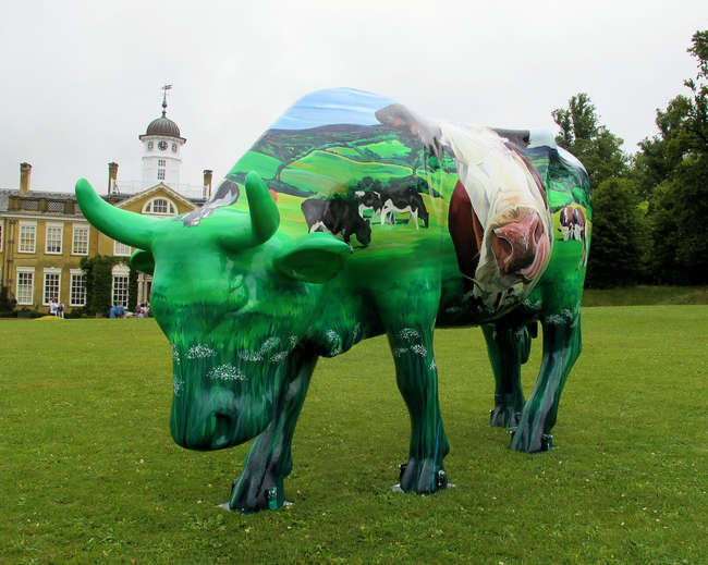 † Clarabelle - Beautifully designed by artist Lauren Terry, Clarabelle depicts grazing cows in the Surrey countryside and brings with her a message not only of art and fun but also, more seriously, of the importance of farming in tough economic times