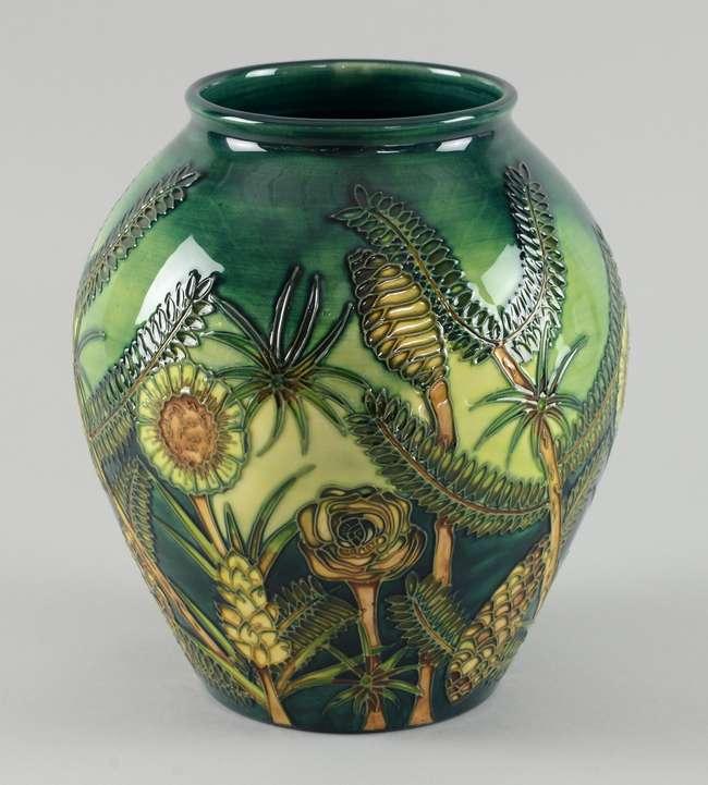 Moorcroft vase decorated with 'Amazon Twilight' pattern designed by