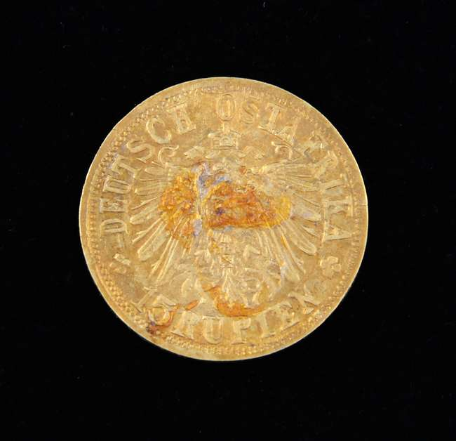 A 1916 gold German East Africa 15 Rupien gold coin