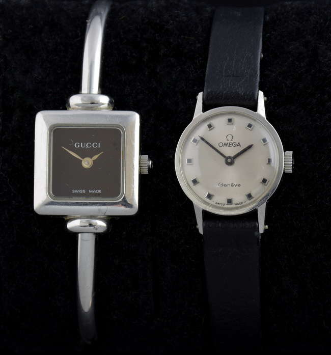 3c56395e714 Ladies Omega stainless watch and a ladies Gucci stainless steel bangle watch  with a square black