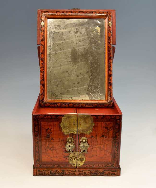 Chinese Red And Black Lacquered Travelling Dressing Table Box With Metal  Mounts ...