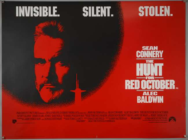 Three British Quad film posters, The Hunt For Red October, Crimson ...