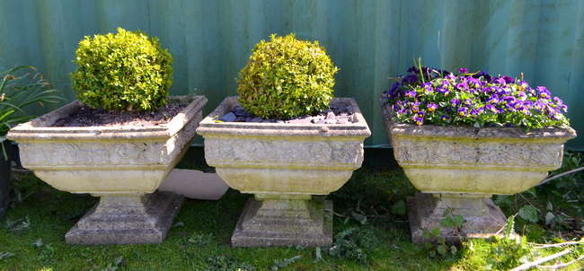 Set Of Three Composite Garden Planters Width 52cm With Plants