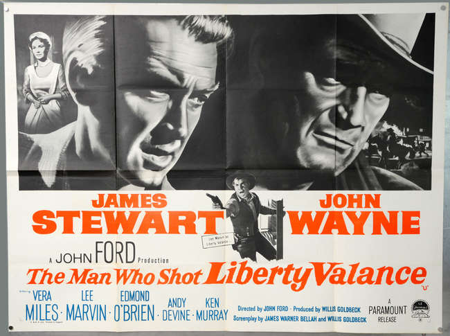 Ewbanks, Surrey's Premier Auctioneers | AUCTION:472 | LOT:5011 | SORT BY: |  PAGE NUMBER:1 | keyword: | The Man Who Shot Liberty Valance (1962) British  Quad film poster