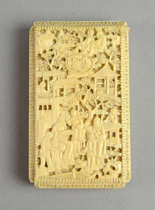777969a0b95a78 Early 20th century Chinese ivory relief carved card case with figures in a landscape  setting ...