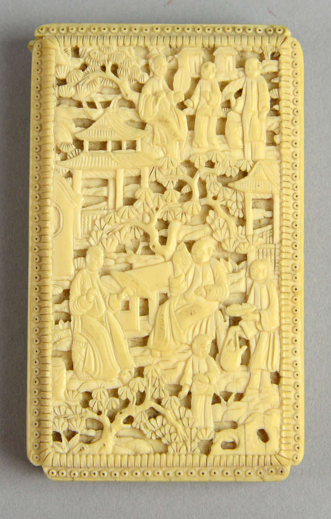 2b1578d033d257 ... Early 20th century Chinese ivory relief carved card case with figures  in a landscape setting ...