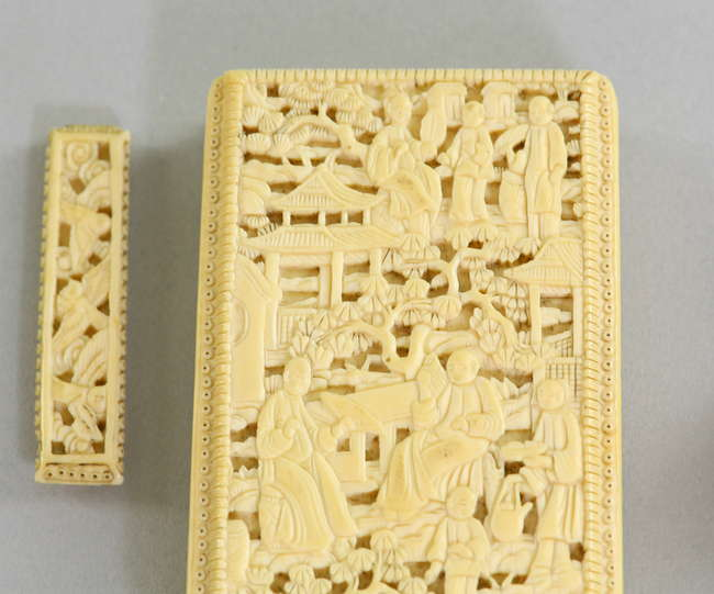 883d8be40f8694 ... Early 20th century Chinese ivory relief carved card case with figures  in a landscape setting