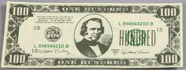 James Bond Casino Royale (2006) A Prop 100 Dollar Bill used