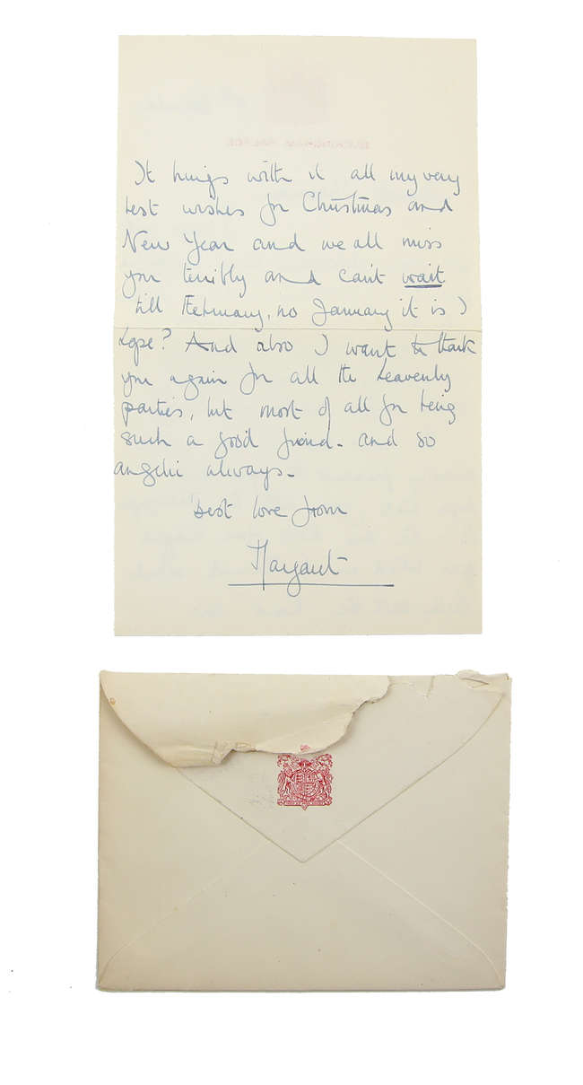 HRH Princess Margaret, hand written signed letter on