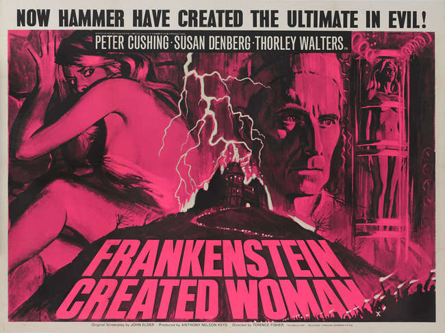 Ewbanks, Surrey's Premier Auctioneers | AUCTION:559 | LOT:5318 | SORT BY: |  PAGE NUMBER:0 | keyword:frankenstein | Frankenstein Created Woman (1967)  British Quad film poster Hammer Horror directed by Terence Fisher and