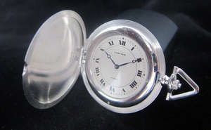 Cartier platinum cased slimline Hunter pocket watch with Roman numeral dial marked Cartier