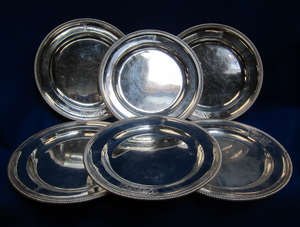 A set of six George III silver plates