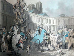 Thomas Rowlandson 'Place des Victoires Paris 1789' original engraving with contemporary hand colouring framed 16