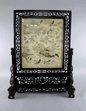 Chinese silk embroidered hardwood table screen