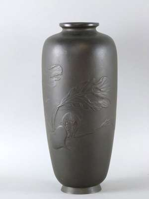 Edo period Japanese bronze vase decorated in relief with a rat and a turnip six character mark to base 12