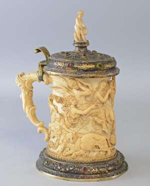 19th century German Ivory and gilt white metal and jewelled tankard. heavily  carved  in relief with a classical scene