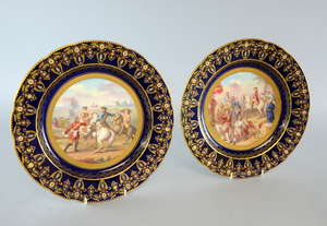 Sevres France two jewelled cabinet plates