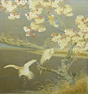 Late 19th century / early 20th century Oriental silk panel decorated with birds set into a later fire screen 4630
