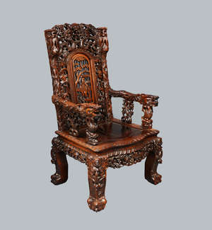 Late 19th /early 20th Century Chinese hardwood chair profusely carved with figures