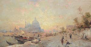 Franz Richard Unterberger - view of Venice  in front of the Santa Maria della Salute