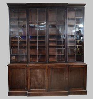 19th century mahogany breakfront bookcase cabinet