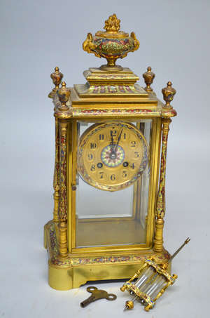 19th century gilt champleve enamelled glass mantel clock with mercury pendulum striking on chime 16