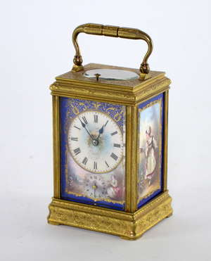8 Day French engraved gilt brass and porcelain mounted repeating carriage clock with alarm sides painted with figures of young ladies in a landscape setting