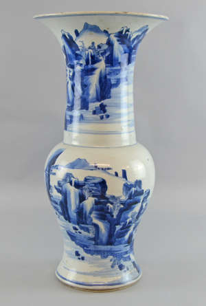 Chinese blue and white YEN YEN vase painted with mountainous landscapes