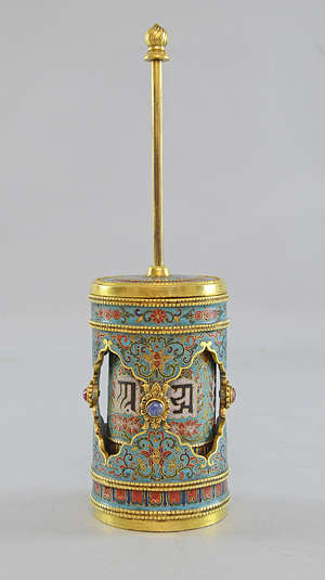 Chinese cloisonné prayer wheel 10.50