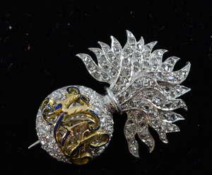 Tessiers Royal Artillery Company diamond set sweetheart brooch mixed
