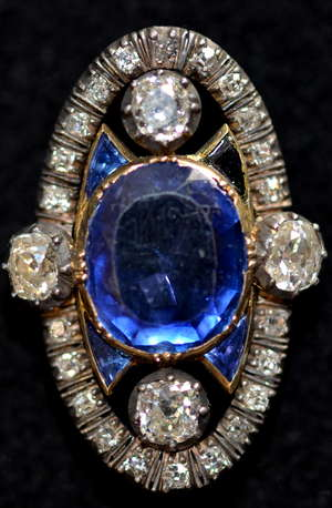 Belle Epoch sapphire and diamond oval plaque ring set with a natural sapphire approx weight  5.4 carat