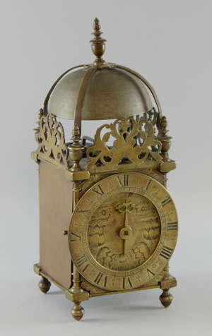 17th century English Brass Lantern Clock by William Holloway of Stroud 1668