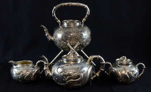 Chinese silver tea service