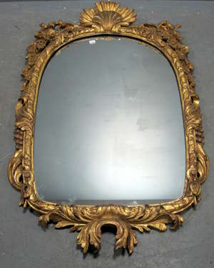 18th Century gilt framed carve wood and  gesso  Venetian upright mirror with shell decoration 47