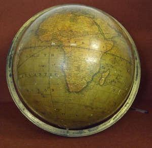19th century Cruchley's terrestrial globe Retail mark reading -