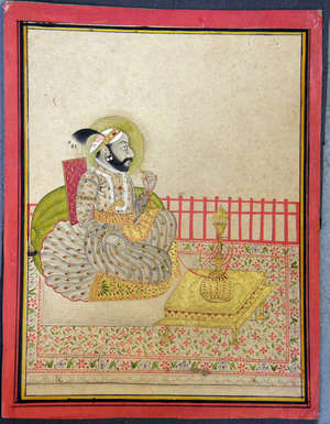 Indian portrait of a Maharaja seated smoking a hookah