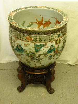 Large Chinese famille verte fish bowl