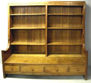 Robert 'Mouseman' Thompson of Kilburn oak settle bookcase the top with ten adjustable shelves