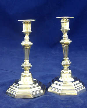 Pair of 18th  century  French silver candlesticks