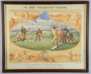 Antique Cope's Tobacco chromolithograph print of a Golf scene