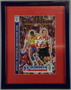 England Football International official programme for England v Brazil on Saturday 27th May 2000 signed on front by Alan Shearer & Rivaldo, framed