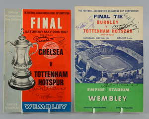 Two FA Cup Final football programmes, one for Burnley v Tottenham Hotspur (1962) & the other for Chelsea v Tottenham Hotspur (1967), both signed to the front cover by Jimmy Greaves, Pat Jennings, Cliff Jones & Dave Mackay (2)