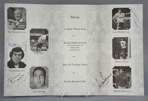 Tottenham Hotspur at Wembley Stadium, 11th September 2000, Menu signed to inside by Cliff Jones, Pat Jennings, Dave Mackay, Gary Mabbutt & Martin Peters