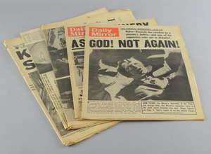 Four newspapers from the assassination of John & Robert Kennedy (1963 & 1968)