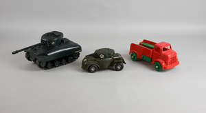 Tri-ang Minic Series II Sherman Tank clockwork model, includes instruction, key and power to make smoke, armoured car friction model and red penguin lorry,