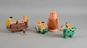 1960's Marx Fred and Barney hand car wind up toy, Marx Flintstones Fred and Dino ramp walking toy, a similar Fred and Velma ramp walking toy, 1961 Hanna Barbera TV Tinykins Barney Rubble and a Jaymar Barney Rubble tricky walker