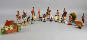 Britians' and other makers guardsmen, Indians, knights and other figures together with Chad Valley lithographed soldiers and building blocks,